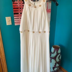 Suzi Chin for Maggy Boutique ivory n gold dress. 8